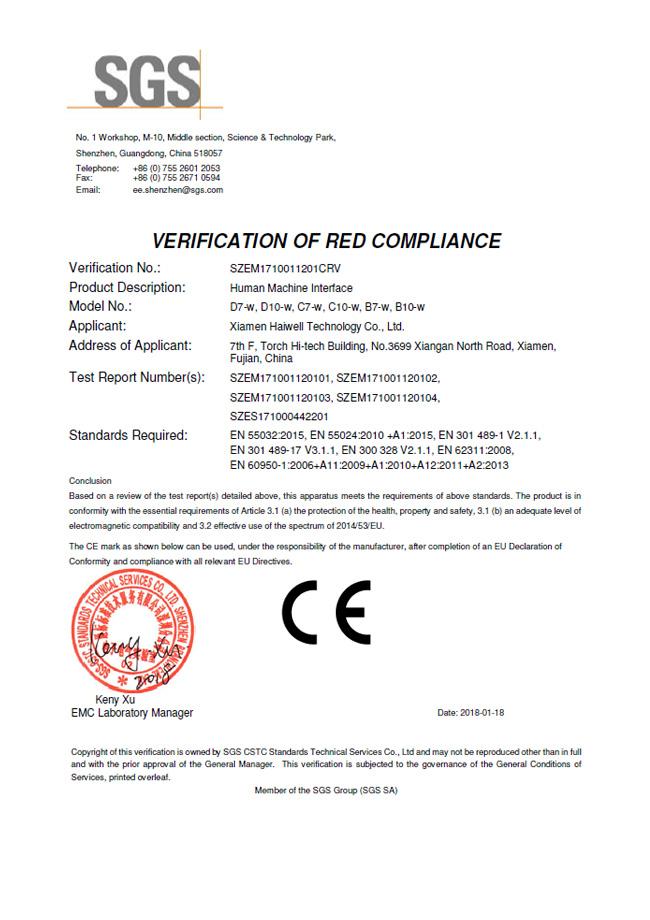 Haiwell HMI - CE certificate